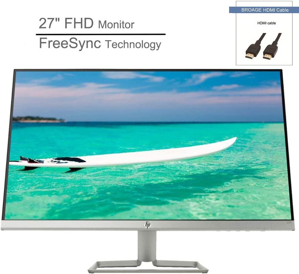 "2020 HP 27"" IPS LED FHD Antiglare Monitor, FreeSync Technology, 1920 x 1080 Resolution, 75Hz Refresh Rate, 5 ms Response Time, HDMI & VGA Ports, Natural Silver, BROAGE HDMI Cable 3ft"