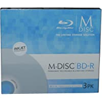 M-Disc 25GB Blu-ray Recordable Media, Inkjet Printable - 3 Disc package