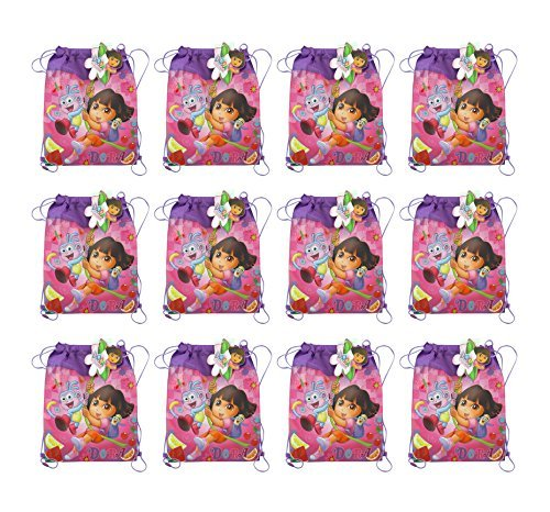 (12-Pack Dora the Explorer and Boots Non-Woven Sling Bags)