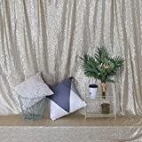 GFCC Photo Background Sequin Backdrop Curtain Champagne 5ftx7ft Sparkly Sequin Backdrop with Satin Fabric