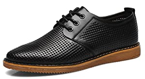 Diffyou Men's Hollow Out Slip On Casual Shoes Formal Oxfords Black 10.5 D(M) US