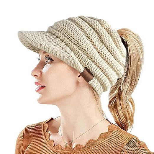 6308c96f8 ANTTAA Women's Soft Winter Warm Knitted Hat Visor Brim Skully Cap Keep Warm  Baseball Cap Beanie Tail