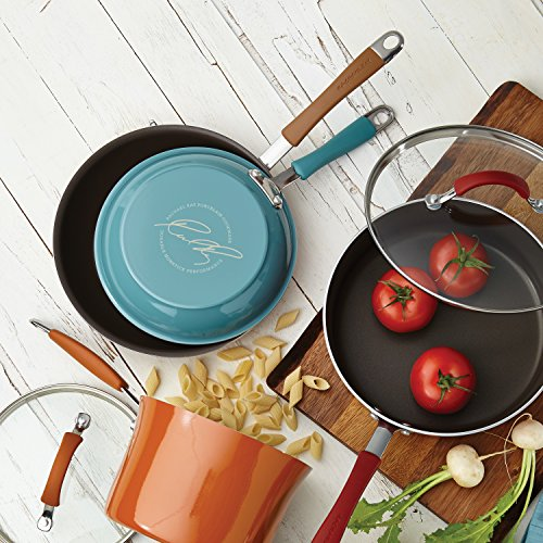 Rachael Ray Cucina Hard Porcelain Enamel Nonstick Skillet Set, 9.25-Inch and 11-Inch, Agave Blue