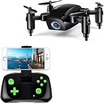 Opinión sobre LBLA 1 RC Mini Drone Plegable Regalo para Niños/Adultos, Giroscopio de 6 Ejes con Control Remoto de Altitud Cuadricóptero HD WiFi Cámara FPV 2.4 GHz, 8 Minutos Tiempo de Vuelo, Negro