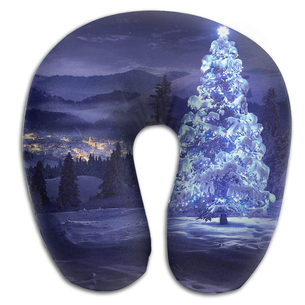 Neck Pillow Christmas Light Tree Travel U-Shaped Pillow Soft Memory Neck Support for Train Airplane Sleeping