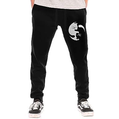 4ebf7eaada431 Amazon.com: Cat Ying Yang 1 Men's Closed Bottom Casual Long Pants ...