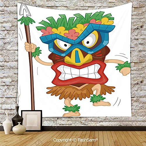 FashSam Tapestry Wall Hanging Native Man Wearing Mask Illustration Cartoon Tribal Costume Primitive Ritual Decorative Tapestries Dorm Living Room Bedroom(W59xL90) -