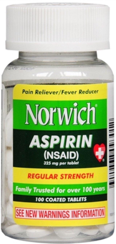 Norwich Aspirin Tablets Regular Strength 100 Tablets (Pack of 4)