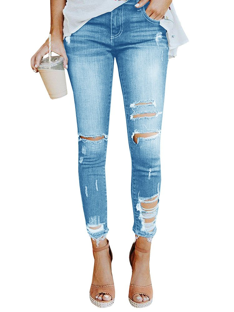 Geckatte Womens Juniors Distressed Ripped Skinny Jeans Stretch Ankle Length Denim Pants