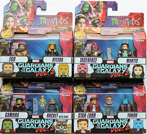 Guardians of The Galaxy Minimates Series 71 Complete BUNDLE set of 8: Star-Lord, Yondu, Gamora, Rocket Raccoon with Groot, Ego, Ayesha, Taserface & Mantis Mini Figures