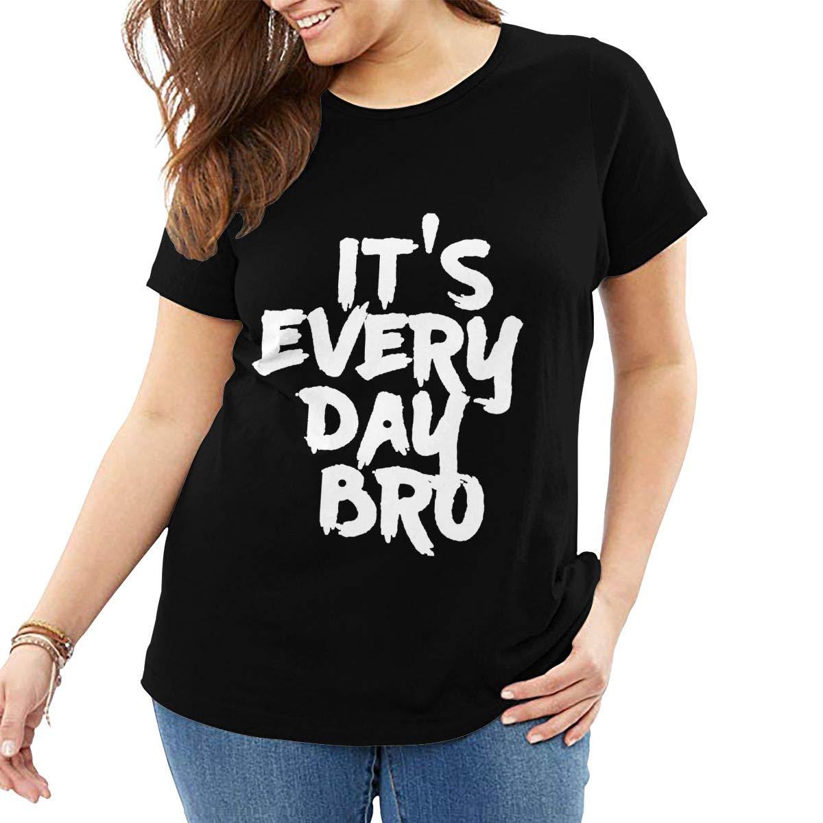 Fat Women's T Shirt Jake Paul It's Every Day BRO Tee Shirts T-Shirt Short-Sleeve Round Neck Tshirt for Women Girls Black 6XL by BKashy