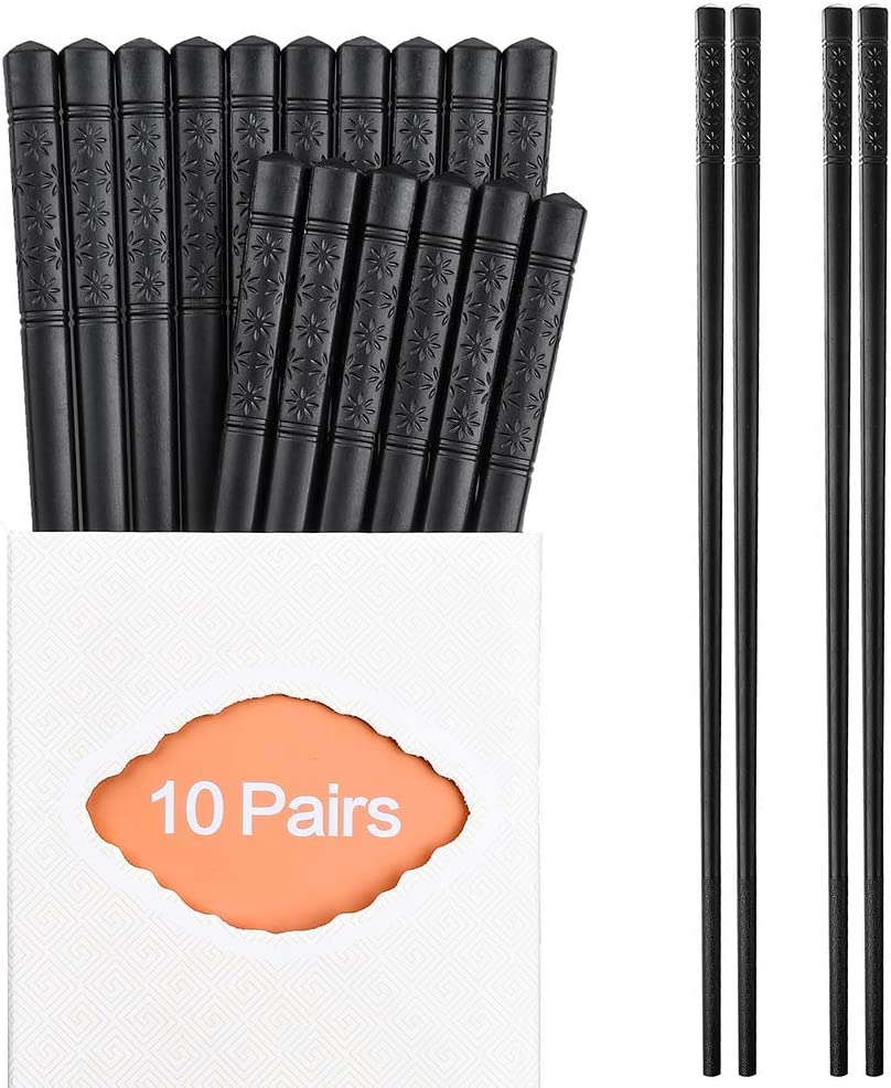 10 Pairs Fiberglass Chopsticks Family Set, ONEHERE Reusable Chinese, Japanese, Korean Chop sticks, Dishwasher Safe, Non-slip, for Sushi, Noodles, Food, Hotpot& Cooking, 10.63 inches, Classic Black