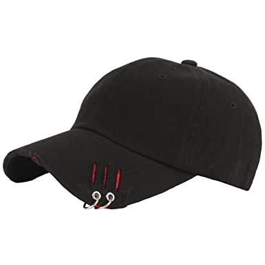 RaOn B193 New Distressed Ripped Vintage Ring Piercing Ball Cap Baseball Hat  Truckers (Black) 36dbf1a25f1