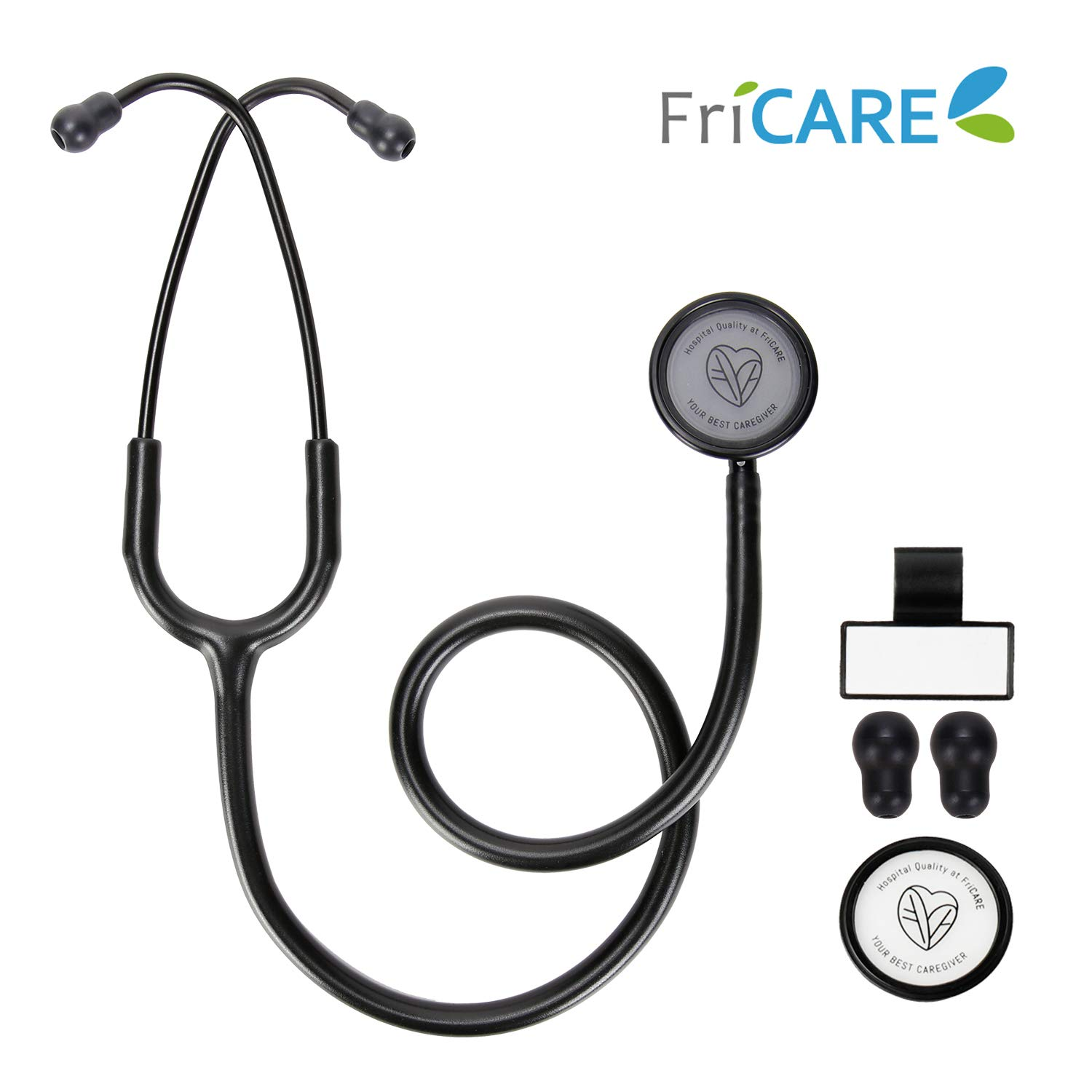FriCARE Lightweight Dual Head Stethoscope for Medical Professionals Doctors, Aluminum Chestpiece and Headset, All Black Matte Finish Tube by FriCARE