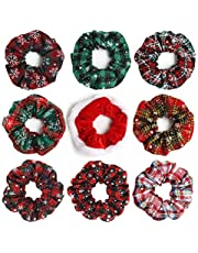 Furling Pompoms Christmas Hair Scrunchies Snowflake Printed Elastic Hair Ties Colorful Plaid Hair Bobbles Scrunchie Ponytail Holders for Women Hair Accessories Pack of 9pcs