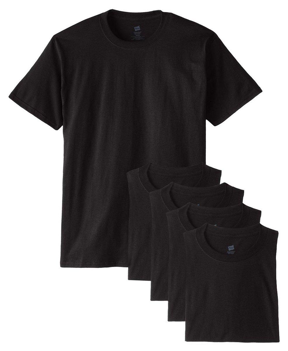 Hanes メンズ Tシャツ ラベルなし 柔らかくて快適 丸首(5枚入り) B015NJPOX0 XXX-Large ブラック ブラック XXX-Large