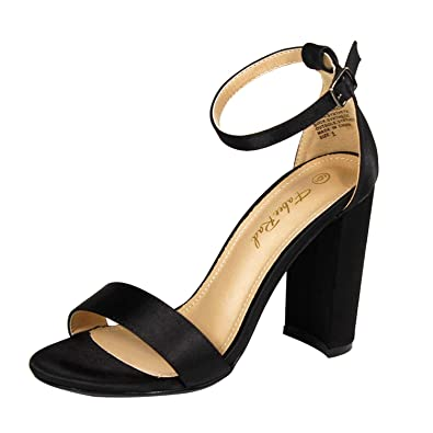 58d8f9bf686 Fabee Rad Non-Slip Chunky Block Sandal Solid Satin Open Toe Heels Pumps  with Buckled