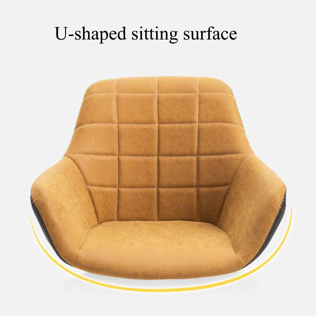 YLMF Hem kontor skrivbordsstol höjd justerbar ergonomisk svängbar kontorsstol U-formad sittyta mode kontorsstol konstgjort läder stål fötter gUL