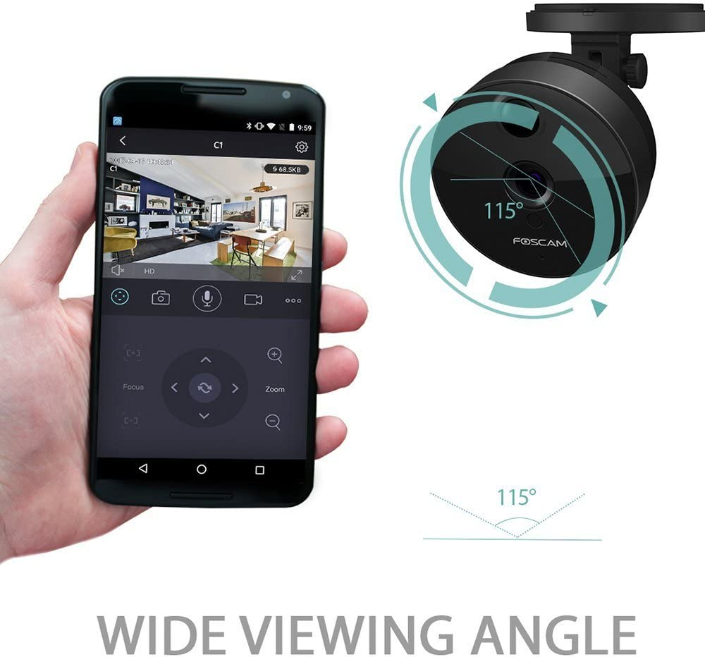 Foscam C1 Lite IP WLAN HD 720P Innen Plug-and-Play Überwachungskamera microSD