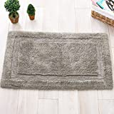 LamourBear Solid Color Bath Mats For Bathroom Non Slip Chenille Rugs For Home Floor Mat For Standing Desk Indoor Door Rug Non Slip Inside Floor Mats For Office To Stand On Gray 16 X 24 In