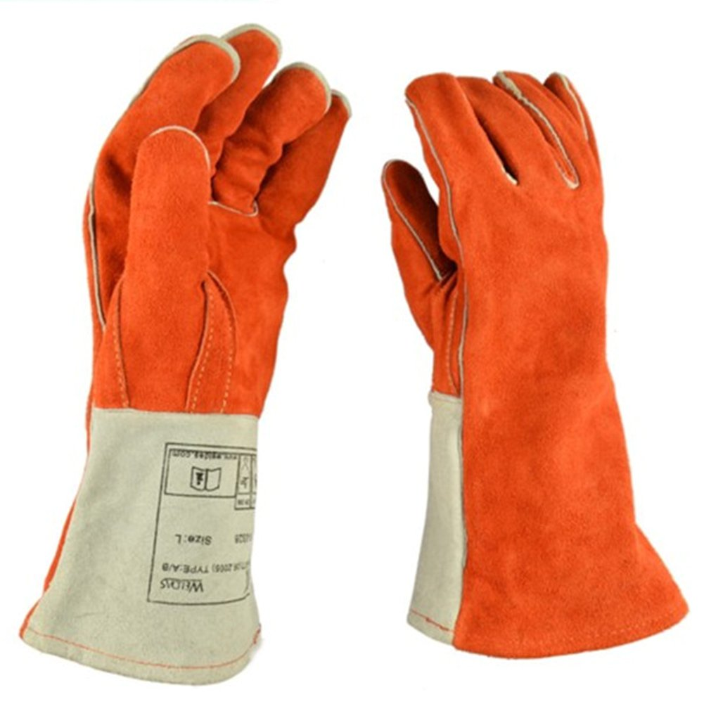 ETbotu 1 Pair Welding Thick Heavy Gloves High Heat Proof Sturdy Large Fireplace Hands Protector Fire Resistant