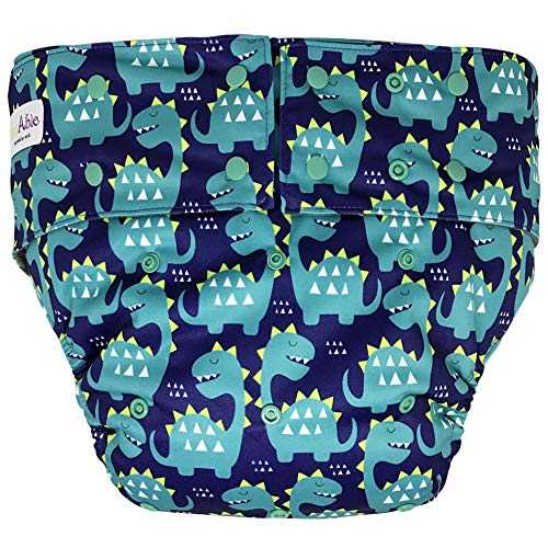 Reusable Adult Diapers for Women and Men - Teen Adult Special Needs Incontinence Cloth Diaper (Dinosaur)