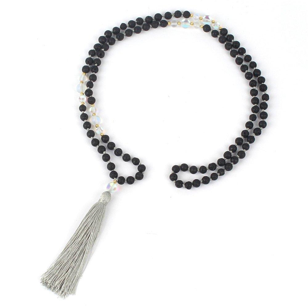 Shinus Mala Beads Necklace for Men Women Bohemia Lava Rock Hand Knotted Tassel Ethnic Statement Reiki Healing Power