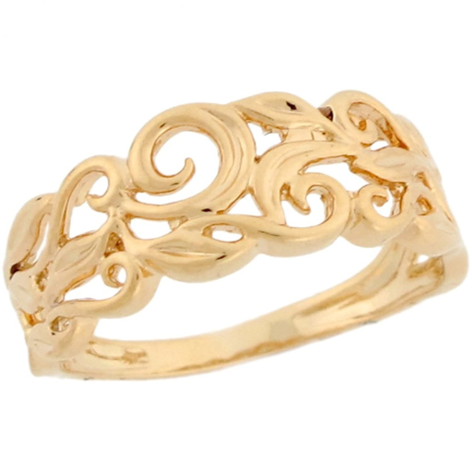Amazon.com: 14k Real Yellow Gold Vine Designer Band Ladies Ring ...