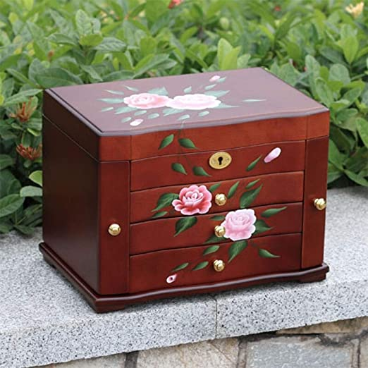 Zhongsufei-HM Caja de joyería Joyas Antiguas Impreso Caja de ...