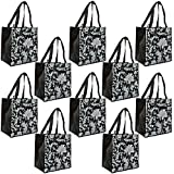 ReBagMe (TM) Set of 10 Large Reusable Grocery Bag Totes with Extra Reinforced Handles Sewn Down to the Bottom of the Bag with Loop for Grocery Stores - Includes Insert on Bottom of Bag for Extra Support (10, Black)