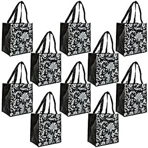 ReBagMe Large Reusable Grocery Bag Totes with Extra Reinforced Handles - Black (Pack of 10)