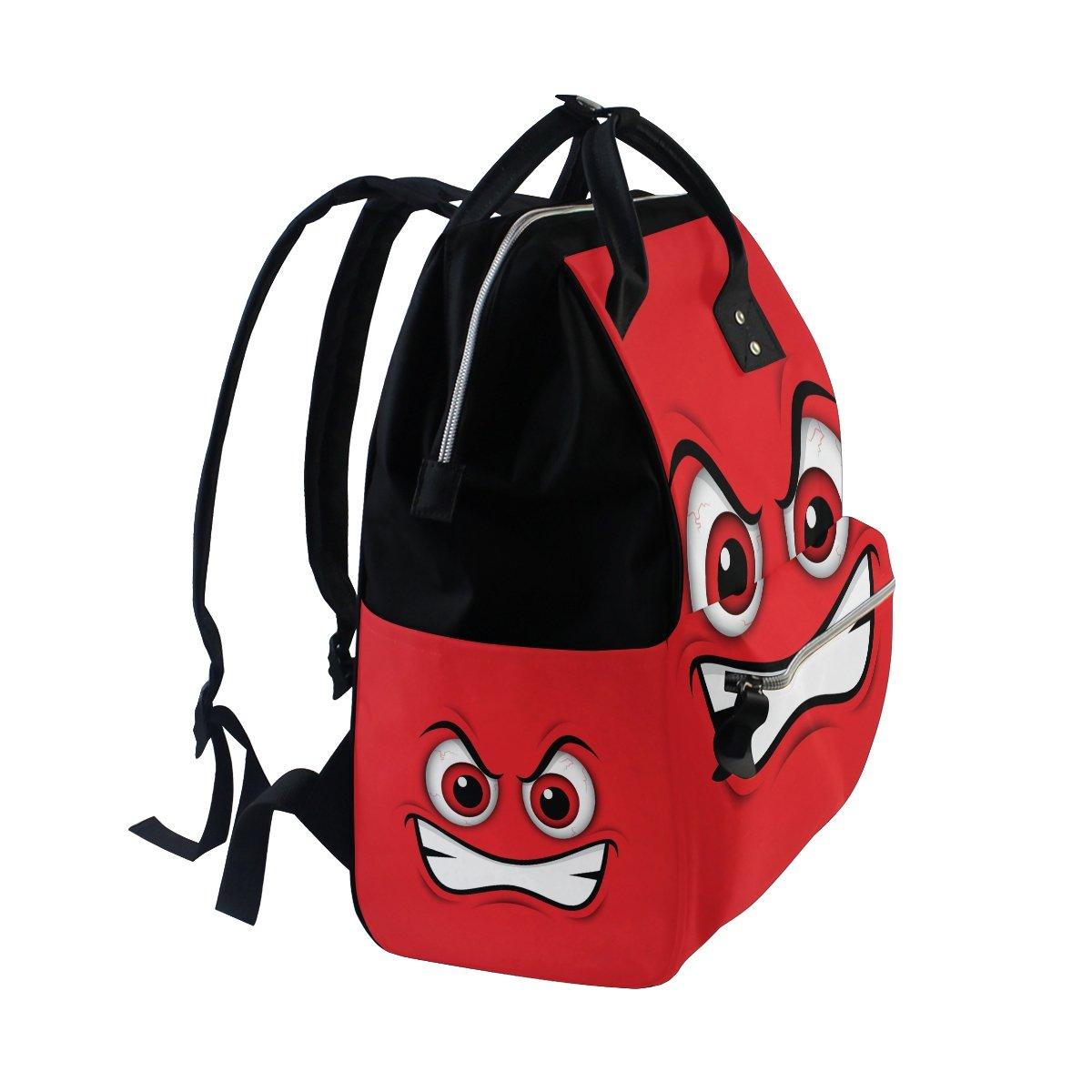 COOSUN Emoji Red Mad Emoticon del pañal de dibujos animados Cambiar la bolsa de pañales Mochila con bolsillos aislado Cochecito correas, Gran multifunción ...