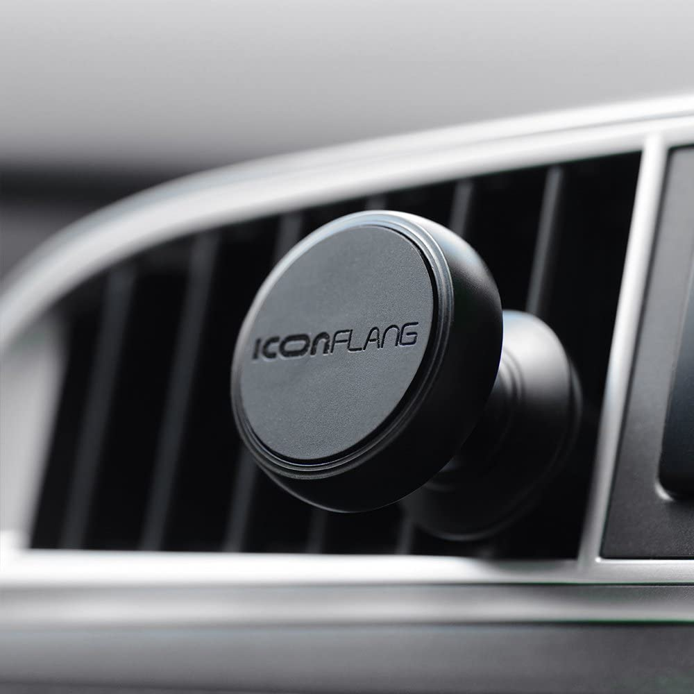 Magnetic Car Holder Unique Magnetic Air Vent Mount by ICONFLANG, Compatible with Most Case and Cell Phone – with 2 Metal Plates
