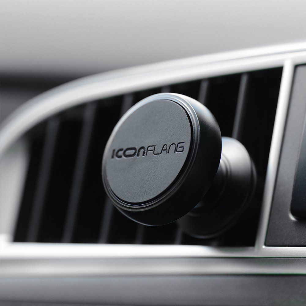 Magnetic Car Holder Unique Magnetic Air Vent Mount by ICONFLANG, Compatible with Most Case and Cell Phone - with 2 Metal Plates by ICONFLANG