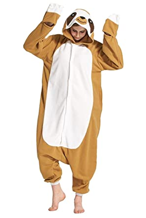 97f0e05de5e0 Amazon.com  Preferhouse Adult Animal Pajama Sloth Onesie Costume Fleece   Clothing