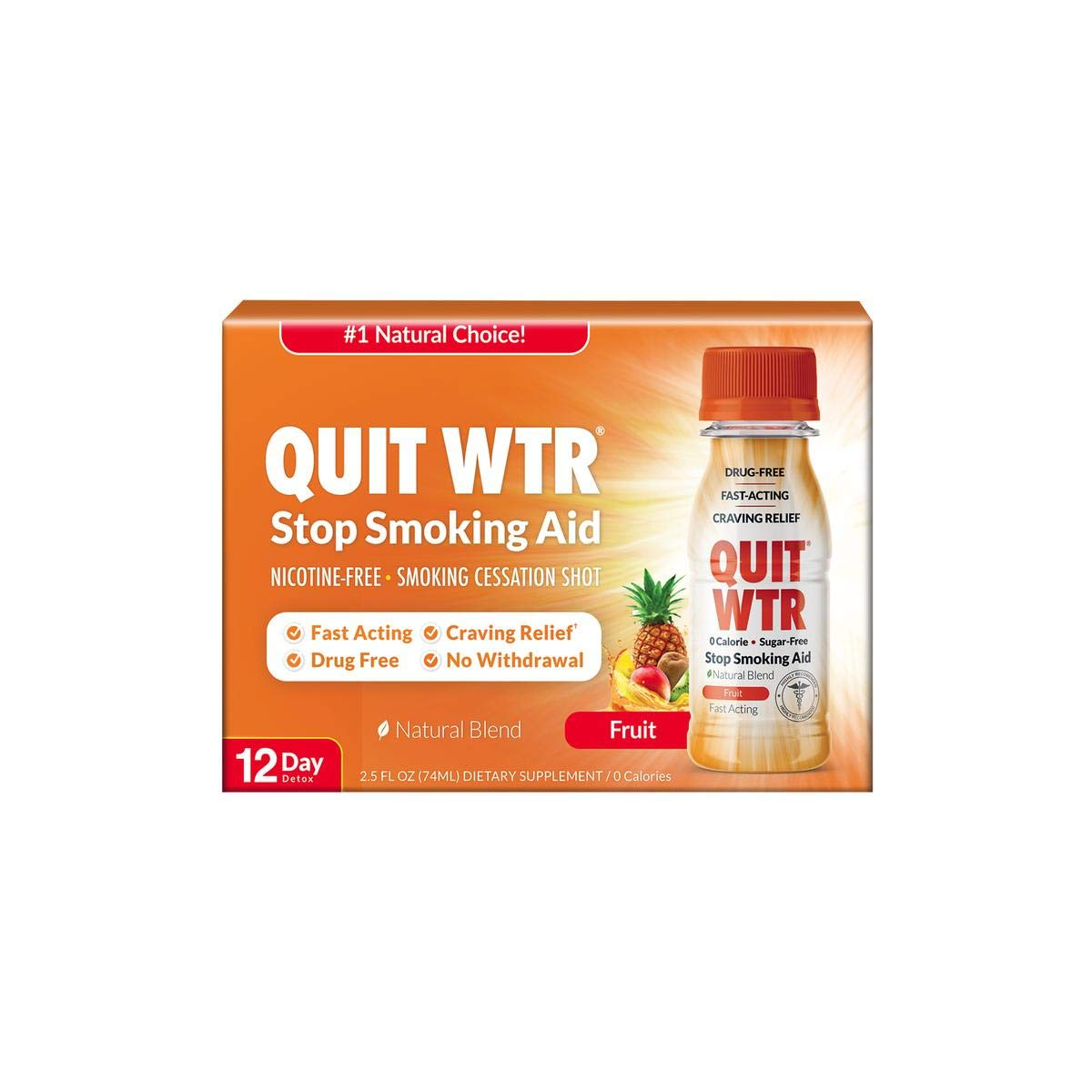 Safe Stop Smoking Shot/Smoking Cessation Supplement to Help Curb Cravings & Overcome The Urge to Smoke Fast (Fruit, 12 Day Detox)