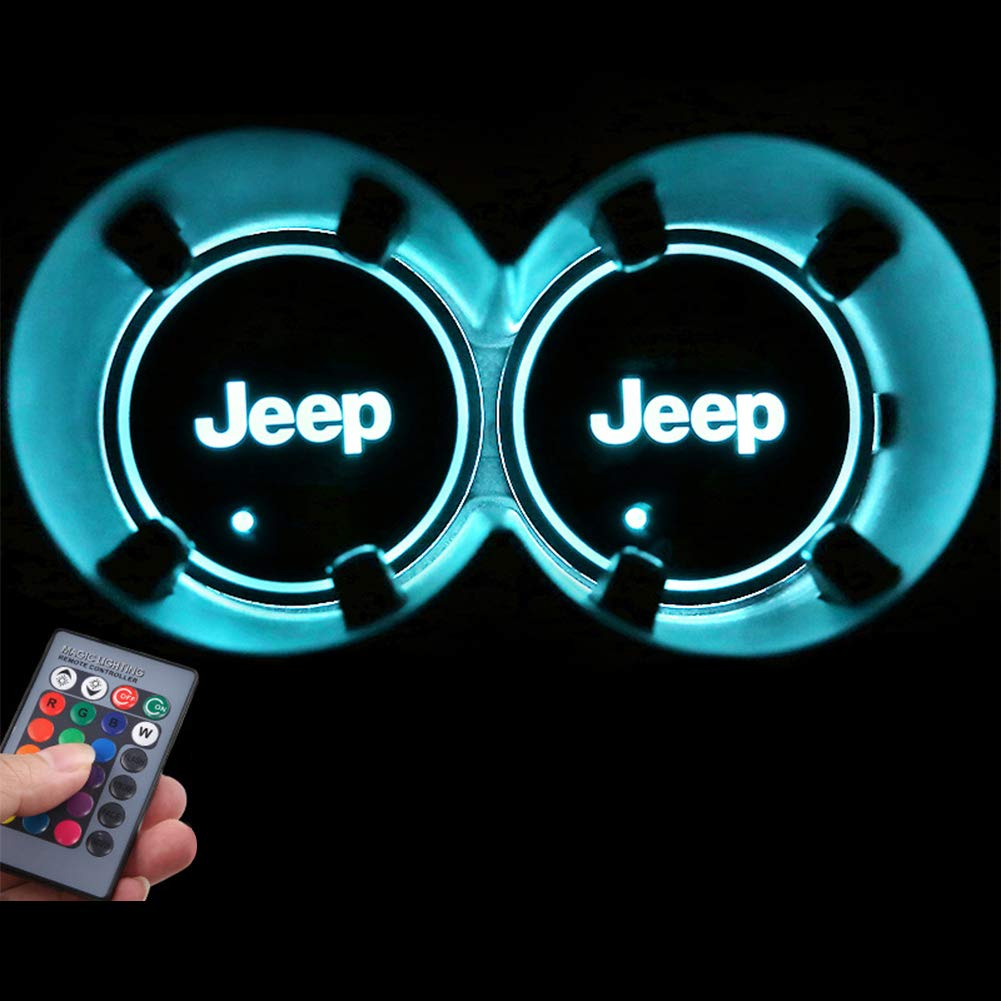 2pcs LED Car Logo Cup Holder Pads 7 Colors Changing USB Charging Mats Bottle Coasters Car Atmosphere Lamps Ford