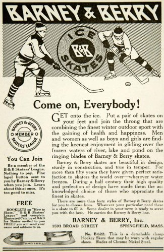1917 Ad Barney Berry 1593 Broad Street Springfield Ice Hockey B&B Advertisement - Original Print Ad Springfield Bb