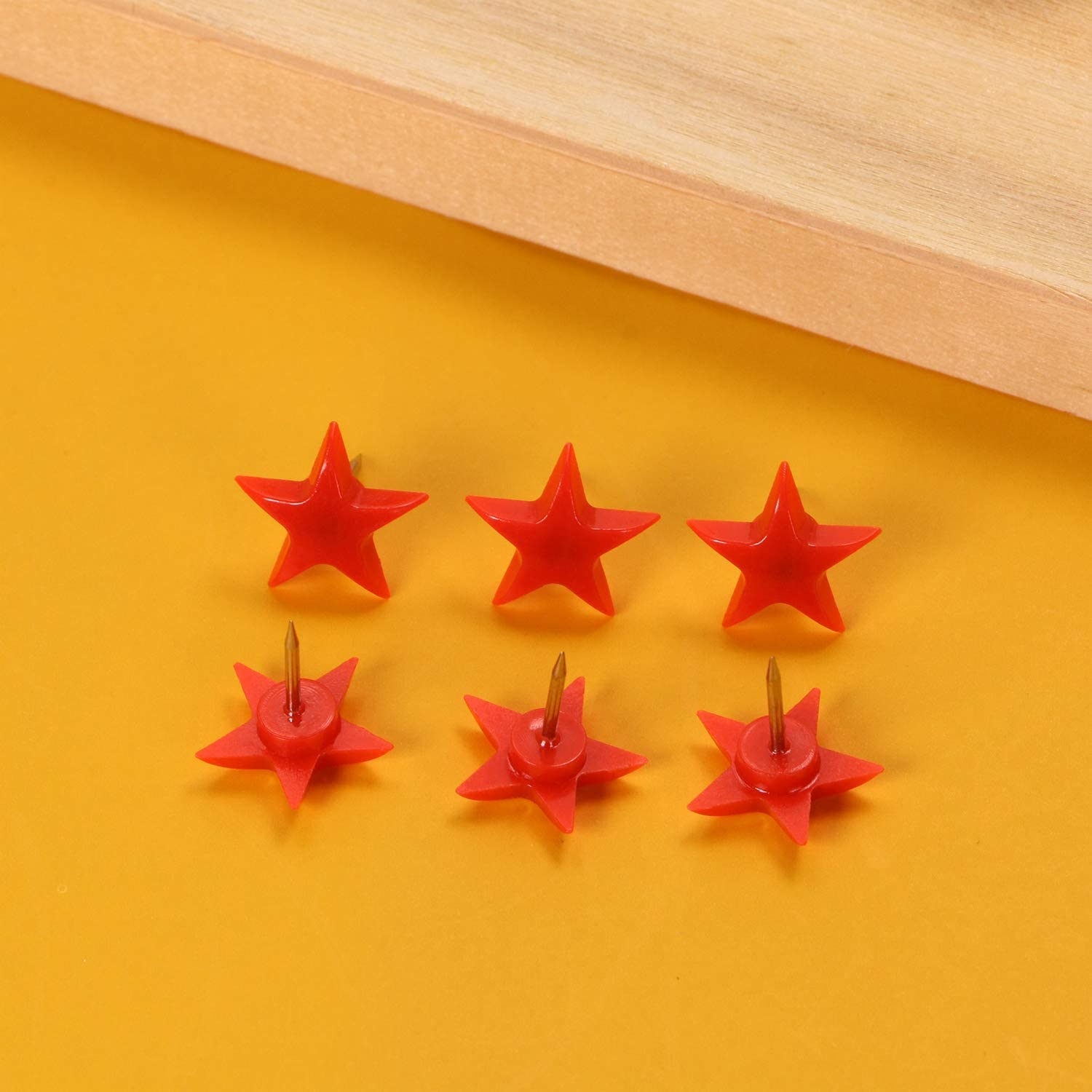 Red Plastic Star Head Steel Point ONLYKXY 100 Pieces Push Pins Tacks