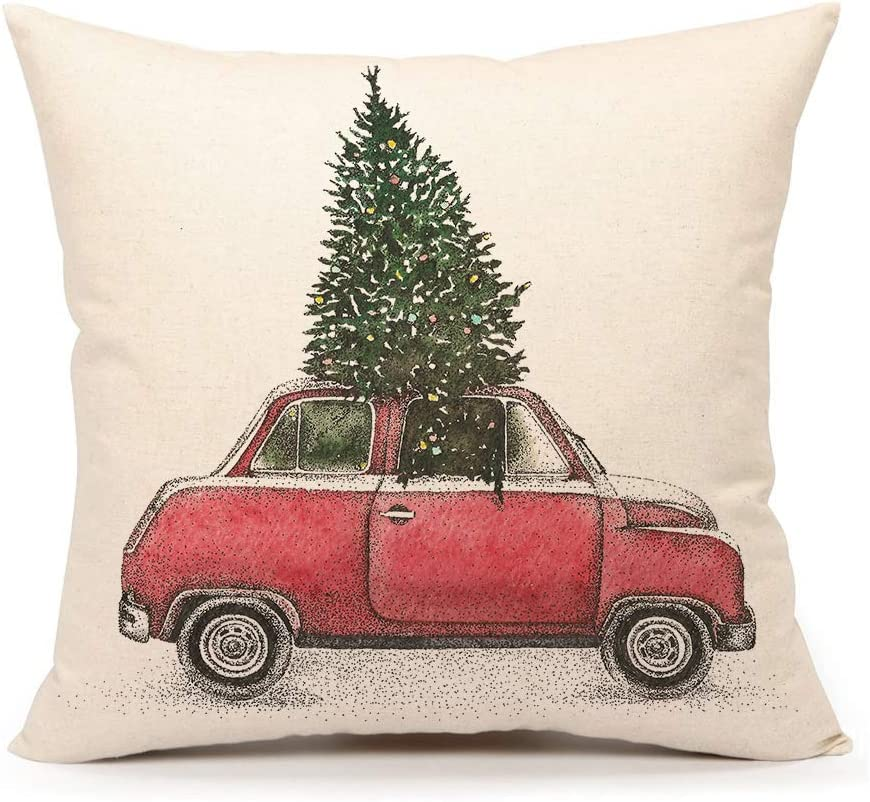4TH Emotion Christmas Tree and Red Car Throw Pillow Cover Home Decorative Cushion Case 18 x 18 Inch Cotton Linen for Sofa(Vintage Truck)
