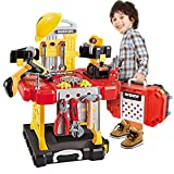 110 Pieces Kids Toy Workbench, Toddlers Power Construction Tool Bench Set with Toy Tool Drill and Helmet, Boys Toy Work Shop Tools