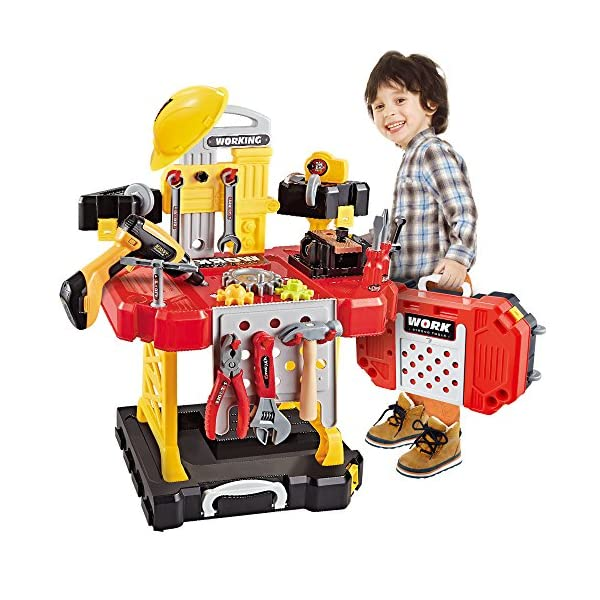 61iEu8pm RL. SS600  - Young Choi's 110 Pieces Kids Construction Toy Workbench for Toddlers, Kids Power Workbench Construction Tool Bench Set…