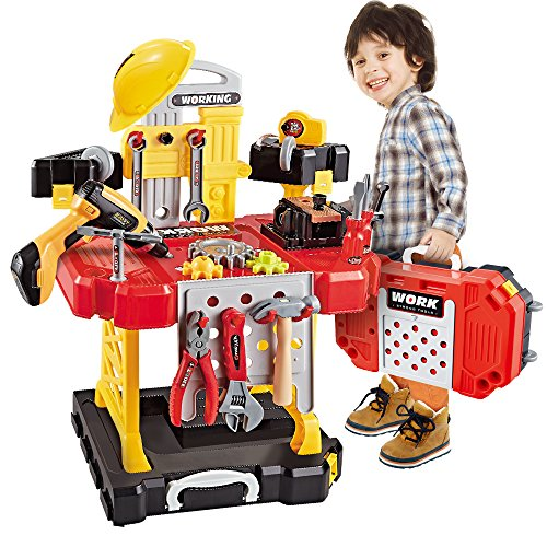 Toy Tool, 100 Pieces Kids Construction Toy Workbench for Toddlers Kids Power Workbench Construction Tool Bench Set with Toy Tool Drill and Helmet, Boys Toy Work Shop Tools Workbench for Toddlers