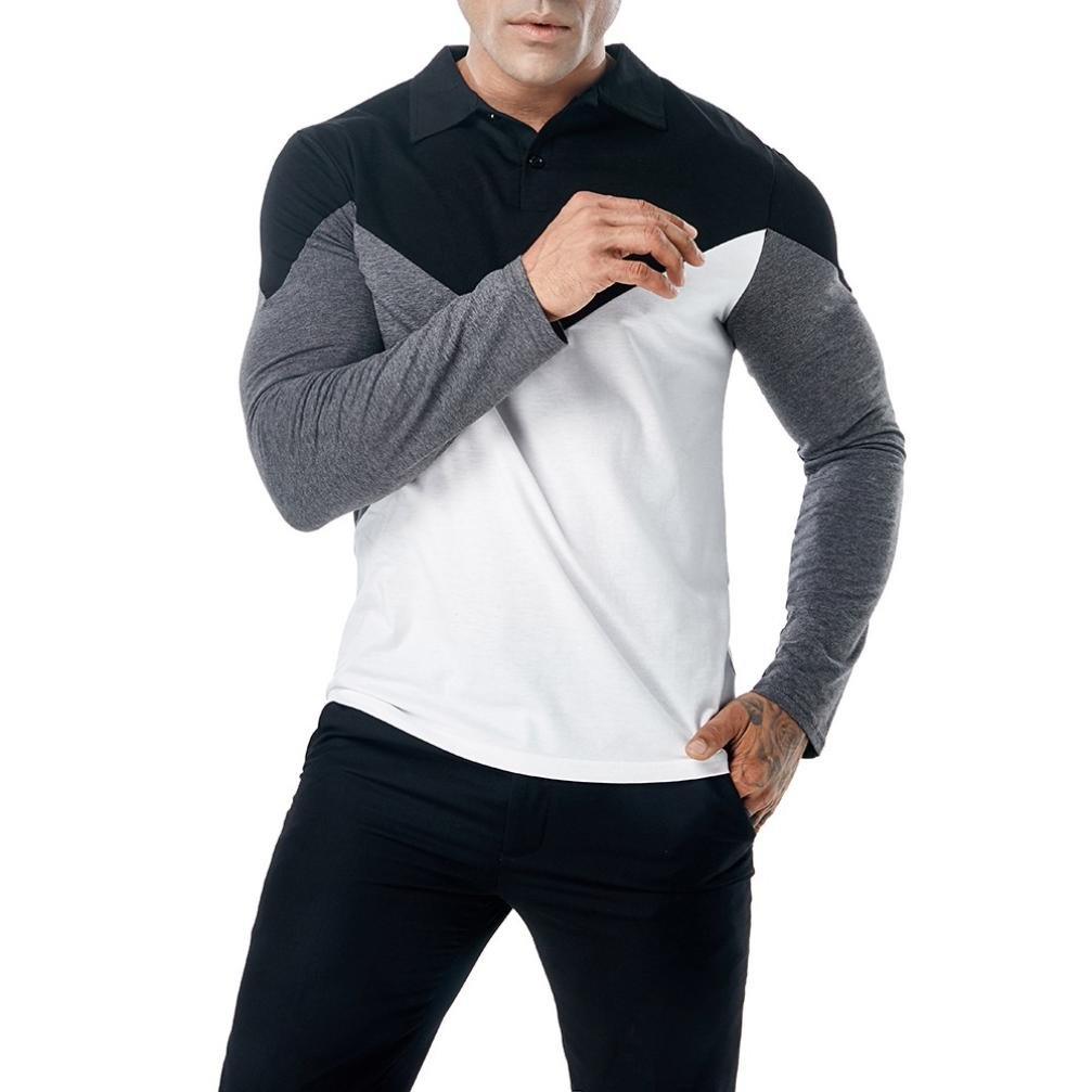 Easytoy Men's Casual Button V Neck Collar Classic Fit Patchwork Long Sleeve Polo T Shirts (Black C, M)