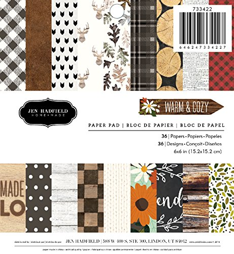 American Crafts Pebbles Patterned PB JH Warm & Cozy Paper Pads (36 Sheets), 6 x 6