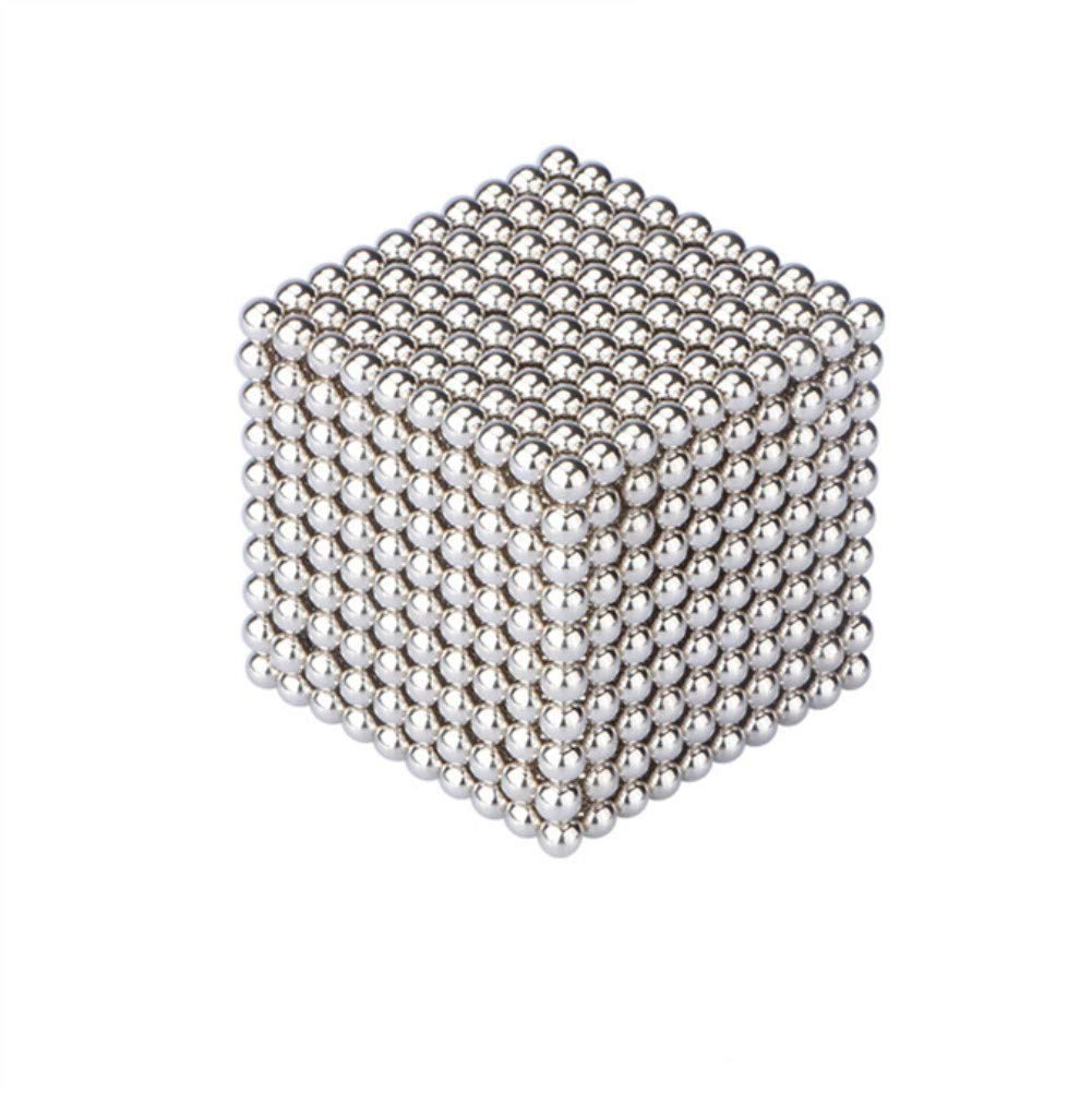 JunRP Magnetic Cube 1000Pcs 5mm Magnets Blocks Magnetic Square Cube Children's Puzzle Magic Cubes DIY Educational Toys for Kids Intelligence Development and Stress Relief - Silver 08
