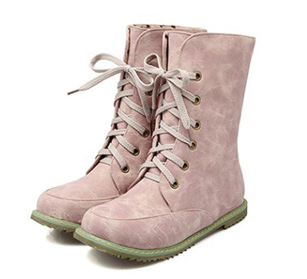 SHOWHOW Damen Flach Kurzschaft Stiefel Schnürsenkel Worker Boots Pink 42 EU zW94aXAItS