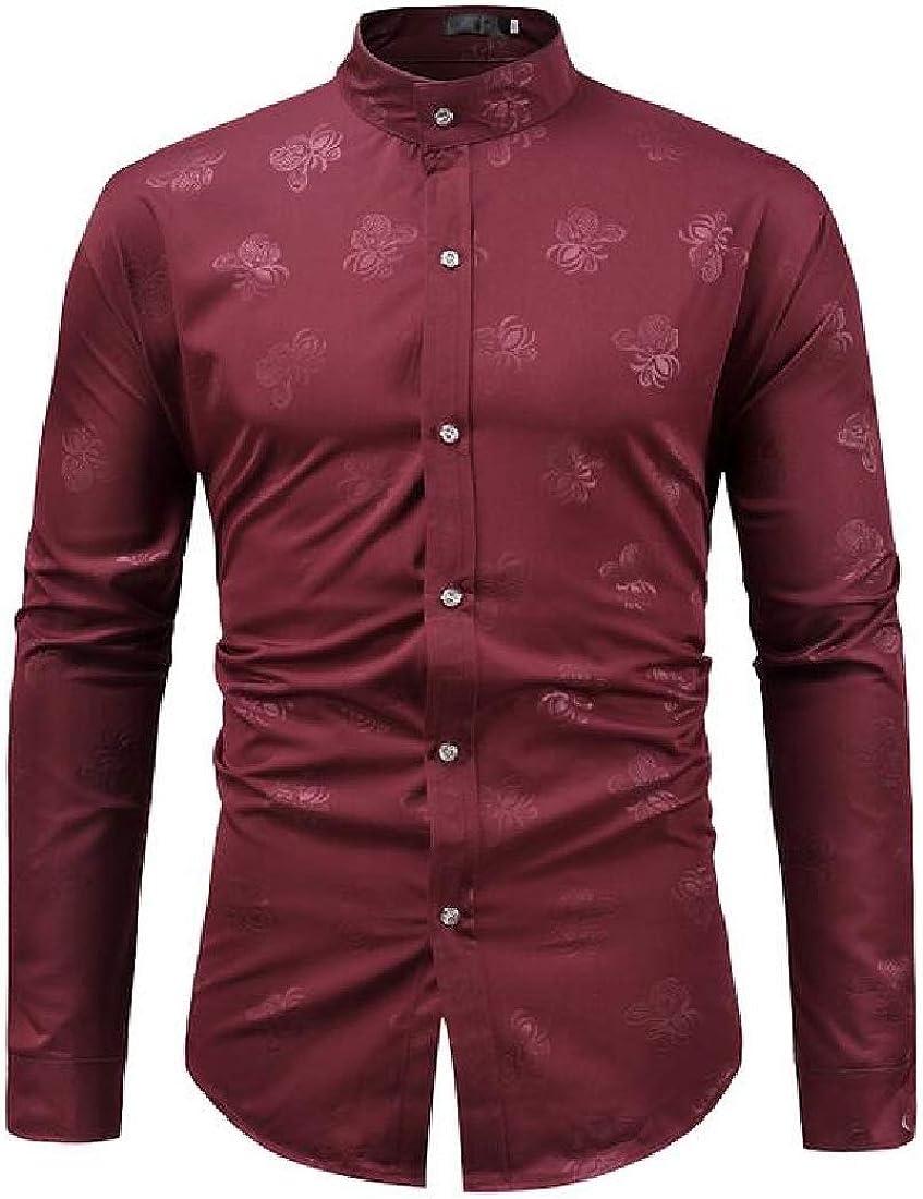 KLJR Men Printed Long Sleeve Regular Fit Stand Collar Business Button Up Dress Shirt