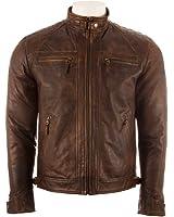 Men's Super Soft 100% REAL Leather BIKER Jacket Diamond Padded Shoulders by MDK