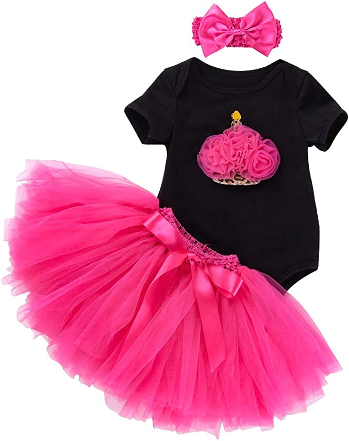 Marlegard/® Baby Girls 3PCs 1st Birthday Tutu Set Jumpsuit with Headband Bubble Skirt